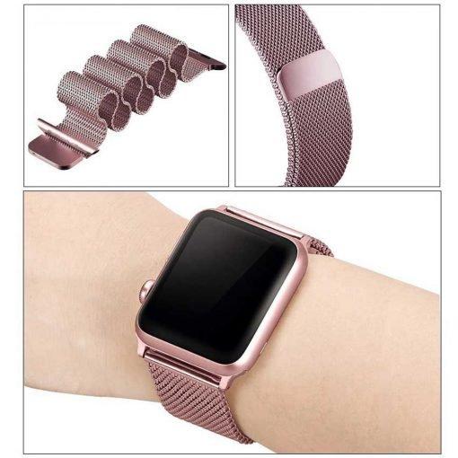 Apple Watch Bands - Milanese Loop Strap Rose Pink Series 1 2 3 4 5 38mm 40mm 42mm 44mm