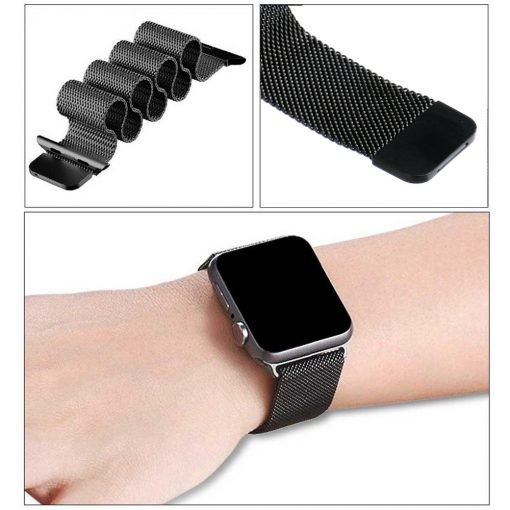 Apple Watch Bands - Milanese Loop Strap Black Series 1 2 3 4 5 38mm 40mm 42mm 44mm