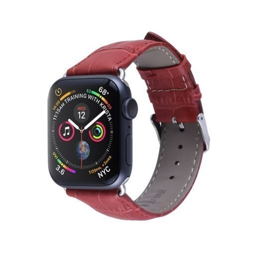 Apple Watch Bands - Casual Leather Band Red Series 1 2 3 4 5 38mm 40mm 42mm 44mm