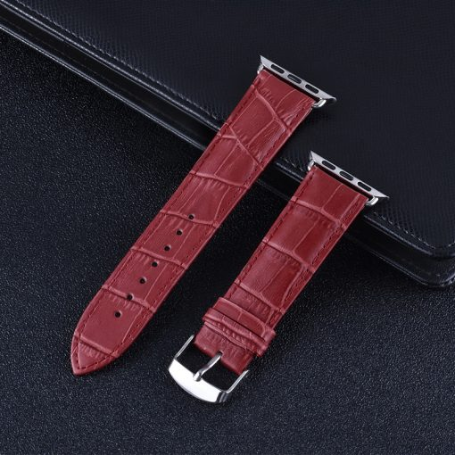 Apple Watch Bands - Genuine Leather Band Straps Red Series 1 2 3 4 5 38mm 40mm 42mm 44mm