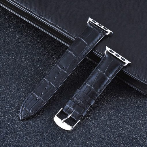 Apple Watch Bands - Genuine Leather Band Straps Black Series 1 2 3 4 5 38mm 40mm 42mm 44mm
