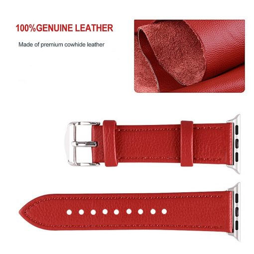 Apple Watch Bands - Signature Leather Band Red Series 1 2 3 4 5 38mm 40mm 42mm 44mm