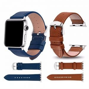 Apple Watch Bands - Signature Leather Band Blue and Brown Series 1 2 3 4 5 38mm 40mm 42mm 44mm