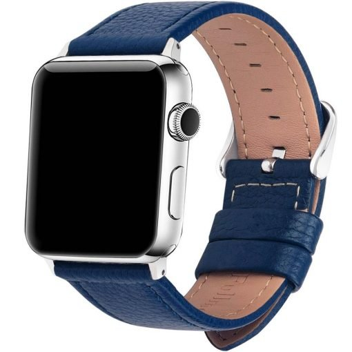 Apple Watch Bands - Signature Leather Blue Apple Watch Band Series 1 2 3 4 5 38mm 40mm 42mm 44mm