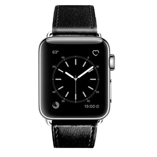 Apple Watch Bands - Signature Leather Black Apple Watch Band Series 1 2 3 4 5 38mm 40mm 42mm 44mm