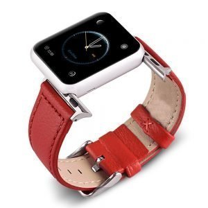 Apple Watch Bands - Signature Leather Red Apple Watch Band Series 1 2 3 4 5 38mm 40mm 42mm 44mm