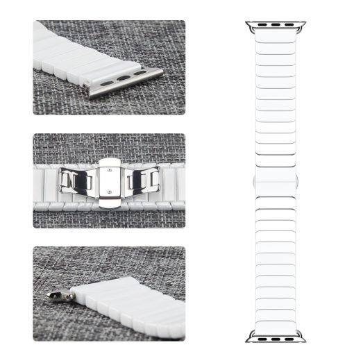 Apple Watch Bands - Ceramic Band White showing buckle and connectors Series 1 2 3 4 5 38mm 40mm 42mm 44mm