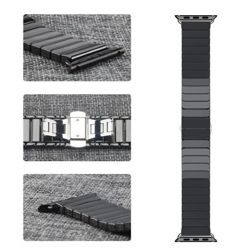 Apple Watch Bands - Ceramic Band Black showing buckle and connectors Series 1 2 3 4 5 38mm 40mm 42mm 44mm