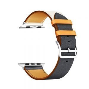 Apple Watch Bands - Vibrant Leather Band White Blue Series 1 2 3 4 5 38mm 40mm 42mm 44mm
