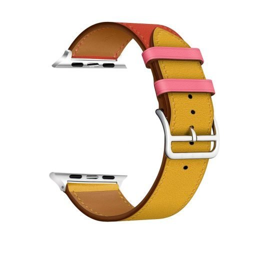 Apple Watch Bands - Vibrant Leather Band Red Yellow Series 1 2 3 4 5 38mm 40mm 42mm 44mm