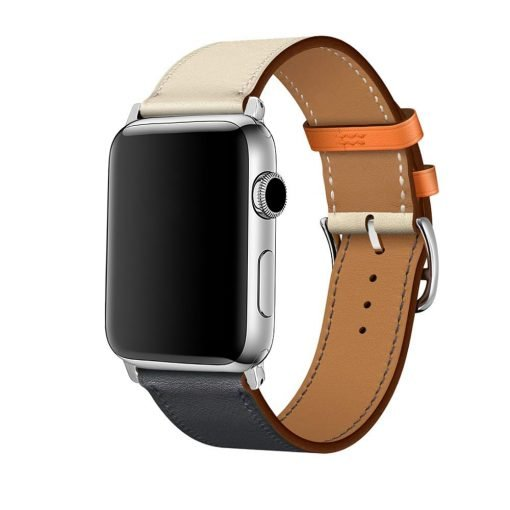 Apple Watch Bands - Vibrant Leather Band Blue White Series 1 2 3 4 5 38mm 40mm 42mm 44mm