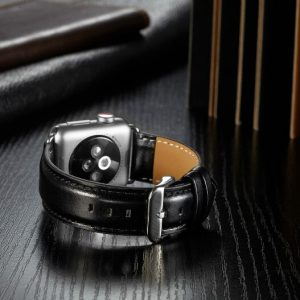 Apple Watch Bands - Luxury Leather Band Black suitable for Series 1 2 3 4 5 38mm 40mm 42mm 44mm