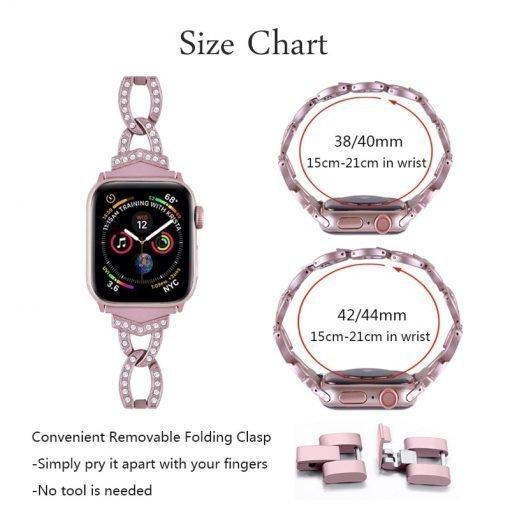 Apple Watch Bands - Dress Bracelet Range Sizing Information Series 1 2 3 4 5 38mm 40mm 42mm 44mm