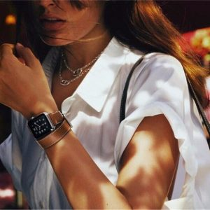 Apple Watch Bands - Model wearing Double Tour Leather Band Apple Watch Band Brown 38mm 40mm 42mm 44mm