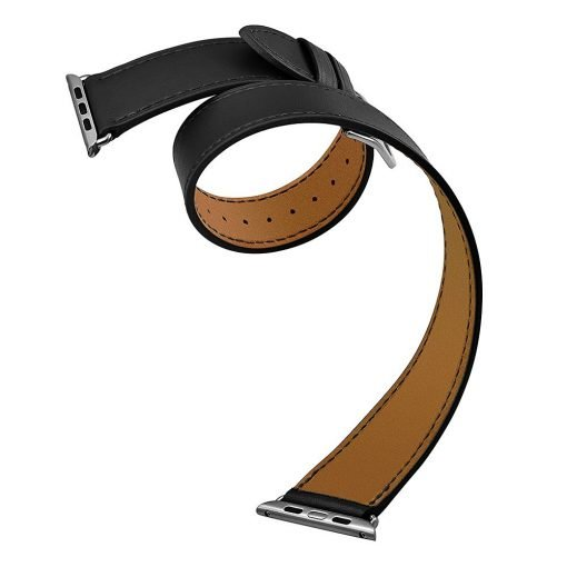 Apple Watch Bands - Double Tour Leather Band Apple Watch Band Black 38mm 40mm 42mm 44mm