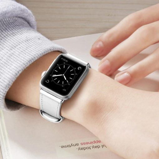 Signature Leather Band for Apple Watch White