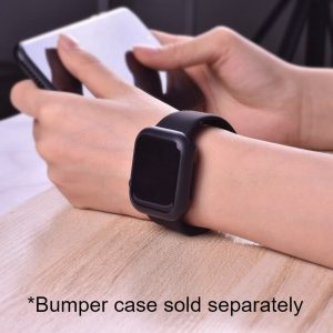Apple Watch Bands - Bright and Soft Silicone Apple Watch Band with Bumper Case 38mm 40mm 42mm 44mm Black