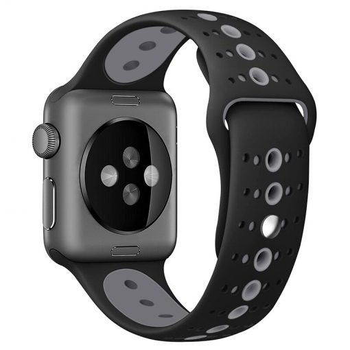 Apple Watch Bands - Modern Sports Silicone Apple Watch Band Black and Grey 38mm 40mm 42mm 44mm Back