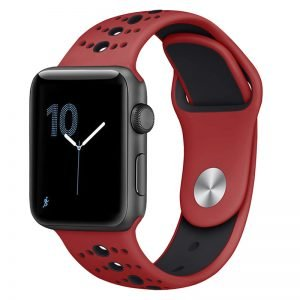 Apple Watch Bands - Modern Sports Silicone Apple Watch Band Red and Black 38mm 40mm 42mm 44mm Front