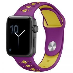Apple Watch Bands - Modern Sports Silicone Apple Watch Band Purple Yellow 38mm 40mm 42mm 44mm Front