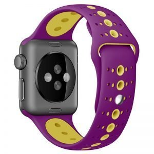 Apple Watch Bands - Modern Sports Silicone Apple Watch Band Purple Yellow 38mm 40mm 42mm 44mm Back
