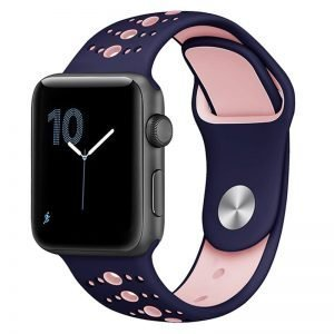 Apple Watch Bands - Modern Sports Silicone Apple Watch Band Indigo and Pink 38mm 40mm 42mm 44mm Front
