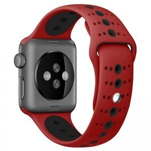 Apple Watch Bands - Modern Sports Silicone Apple Watch Band Red and Black 38mm 40mm 42mm 44mm Back