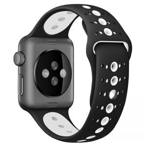 Apple Watch Bands - Modern Sports Silicone Apple Watch Band Black and White 38mm 40mm 42mm 44mm Front