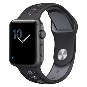 Apple Watch Bands - Modern Sports Silicone Apple Watch Band Black and Grey 38mm 40mm 42mm 44mm Front