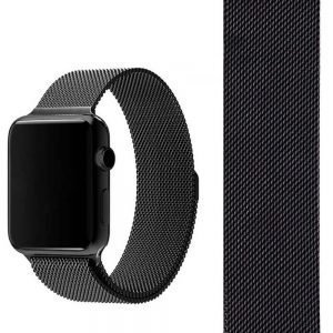 Apple Watch Bands - Space Black Milanese Loop 38mm 40mm 42mm 44mm with band detail
