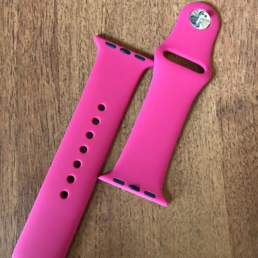 Apple Watch Bands - Bright and Soft Silicone Apple Watch Band 38mm 40mm 42mm 44mm Barbie Pink 1