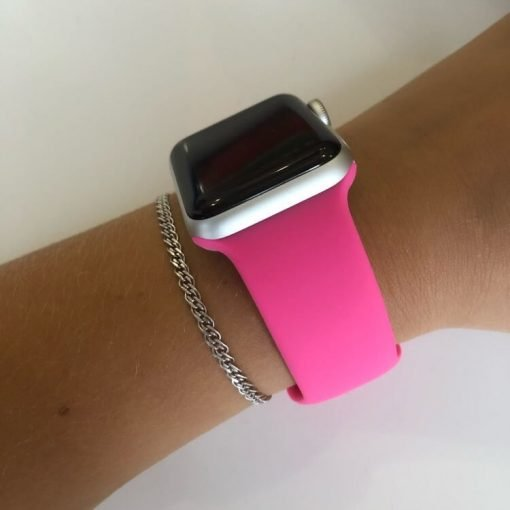 Apple Watch Bands - Bright and Soft Silicone Apple Watch Band 38mm 40mm 42mm 44mm Barbie Pink Series 6 SE