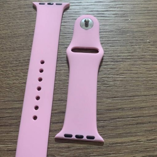 Apple Watch Bands - Bright and Soft Silicone Apple Watch Band 38mm 40mm 42mm 44mm Light Pink 5