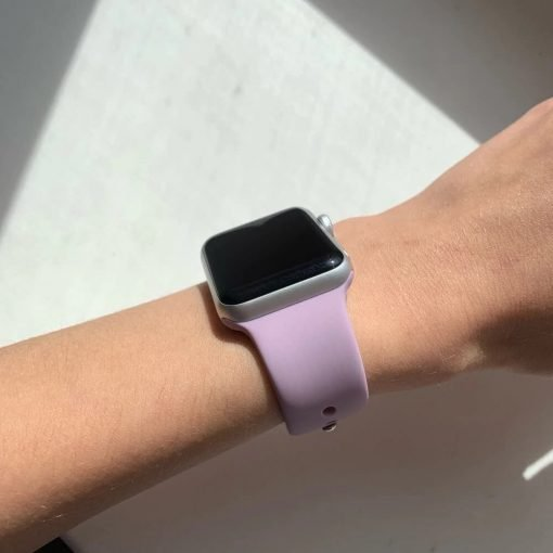 Apple Watch Bands - Bright and Soft Silicone Apple Watch Band 38mm 40mm 42mm 44mm Light Purple 5
