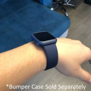 Apple Watch Bands - Bright and Soft Silicone Apple Watch Band with Bumper Case 38mm 40mm 42mm 44mm Midnight Blue 3
