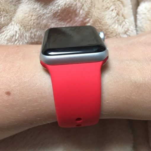 Apple Watch Bands - Bright and Soft Silicone Apple Watch Band 38mm 40mm 42mm 44mm Red 5