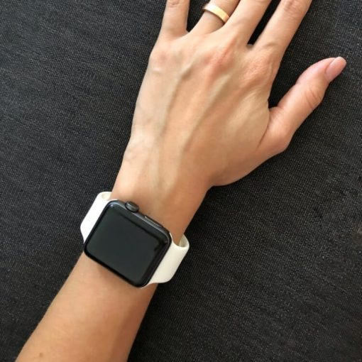 Apple Watch Bands - Bright and Soft Silicone Apple Watch Band 38mm 40mm 42mm 44mm White