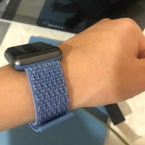 Apple Watch Bands - Cape Cod Blue Premium Nylon Sport Loop 38mm 40mm 42mm 44mm on wrist 2