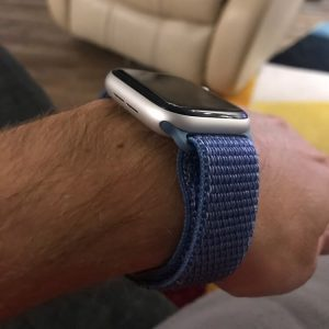 Apple Watch Bands - Cape Cod Blue Premium Nylon Sport Loop 38mm 40mm 42mm 44mm on wrist 5