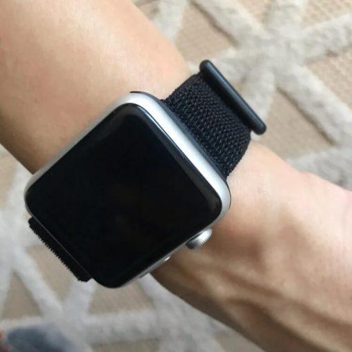 Apple Watch Bands - Dark Black Premium Nylon Sport Loop 38mm 40mm 42mm 44mm on wrist 2
