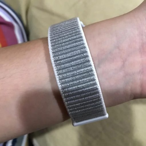 Apple Watch Bands - Seashell Premium Nylon Sport Loop 38mm 40mm 42mm 44mm on wrist 3
