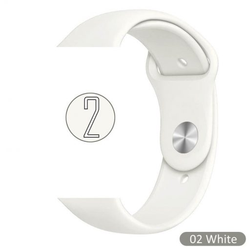 Apple Watch Bands - Bright and Soft Silicone Sports Apple Watch Band White Series 38mm 40mm 42mm 44mm