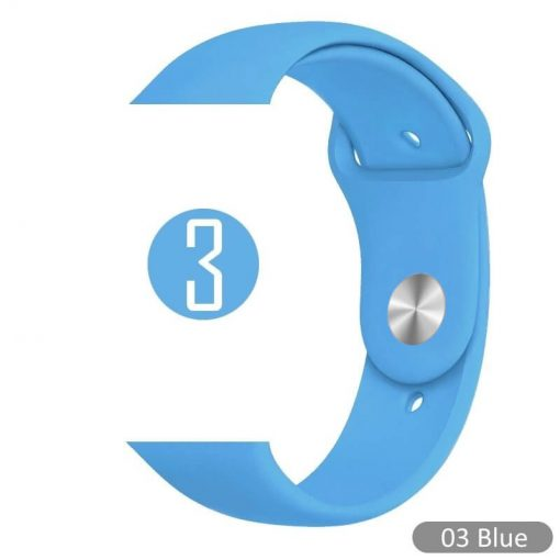 Apple Watch Bands - Bright and Soft Silicone Sports Apple Watch Band Blue Series 38mm 40mm 42mm 44mm
