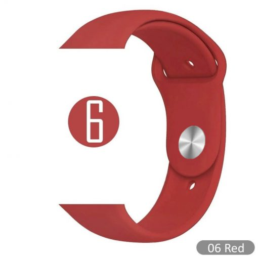 Apple Watch Bands - Bright and Soft Silicone Sports Apple Watch Band Red Series 38mm 40mm 42mm 44mm