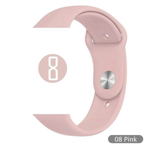 Apple Watch Bands - Bright and Soft Silicone Sports Apple Watch Band Pink Series 38mm 40mm 42mm 44mm