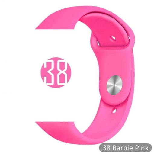 Apple Watch Bands - Bright and Soft Silicone Sports Apple Watch Band Barbie Pink Series 38mm 40mm 42mm 44mm