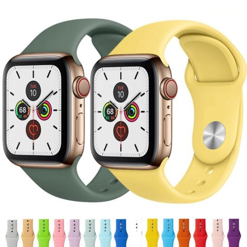 Apple Watch Bands - Bright Soft Silicone Sports Band Range Series 1 2 3 4 5 38mm 40mm 42mm 44mm