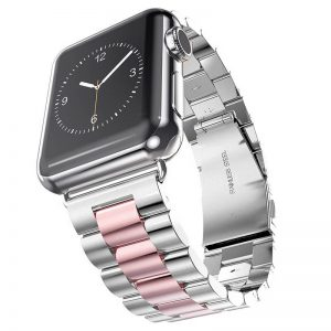 Apple Watch Bands - Stainless Steel Band Mix Rose Pink Series 1 2 3 4 5 38mm 40mm 42mm 44mm