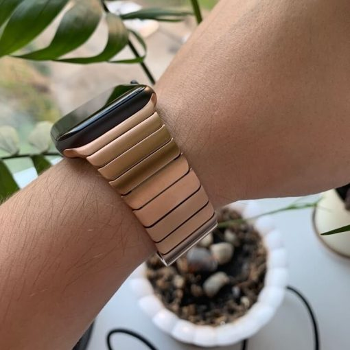 Rose Gold Luxury Stainless Steel Apple Watch Band for Series 6 SE 38mm 40mm 42mm 44mm