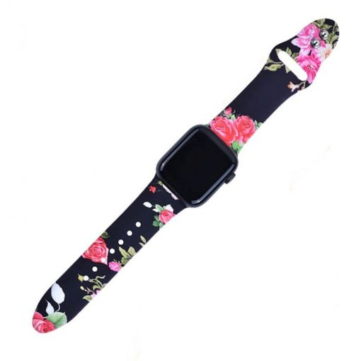 Apple Watch Bands Printed Soft Silicone Roses Series 1 2 3 4 5 38mm 40mm 42mm 44mm